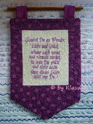 Patchwork und quiltforum kleiner spruch wandbehang - Wandbehang patchwork ...